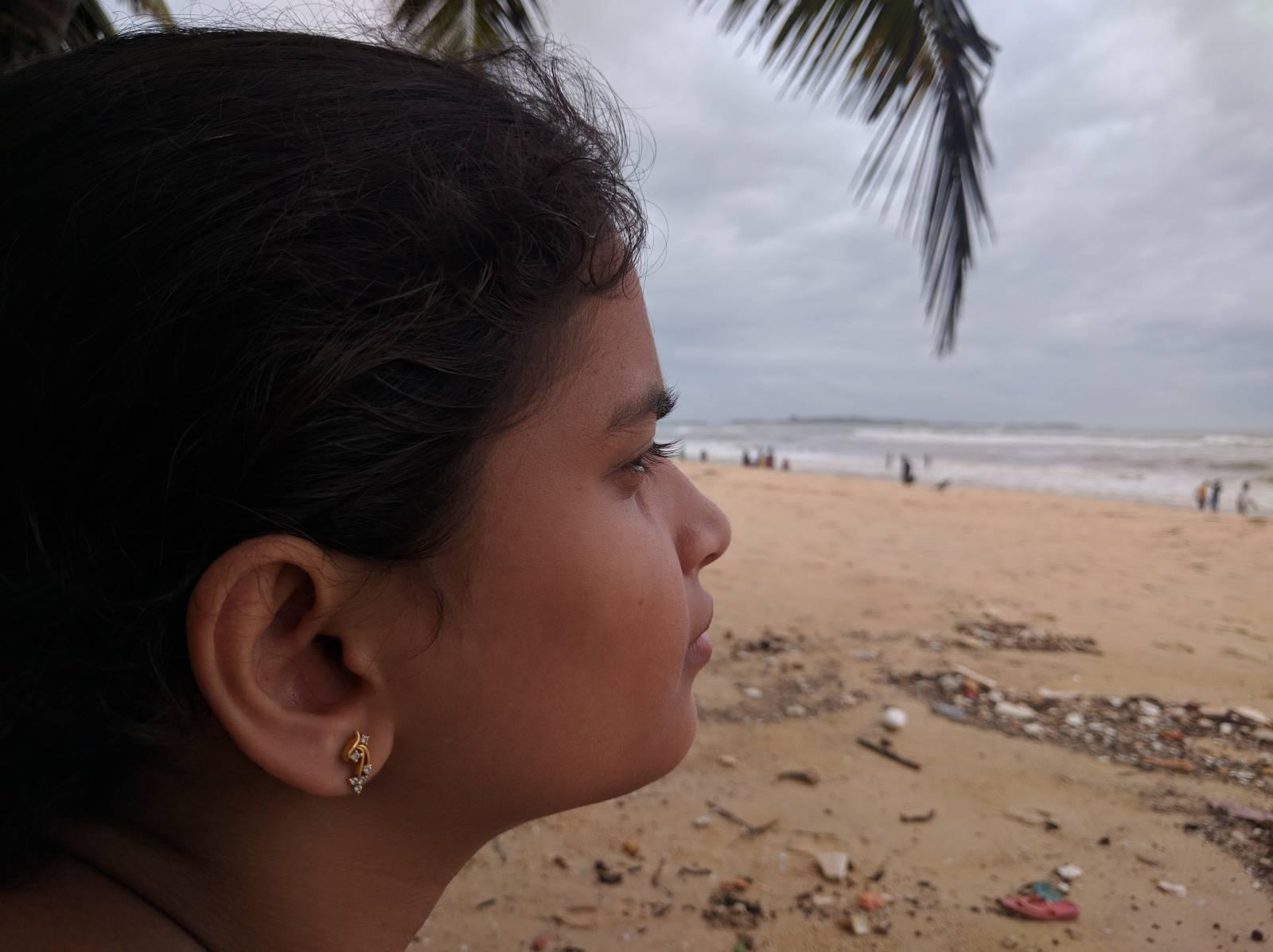 Jo looking into the sea