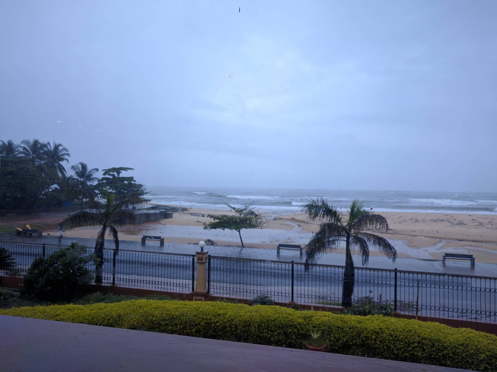 View of Malpe Beach from Paradise Isle Restaurant